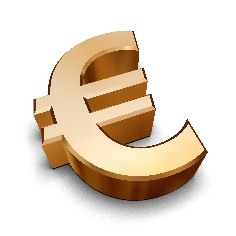 A golden Euro symbol isolated on a white background (3D rendering)